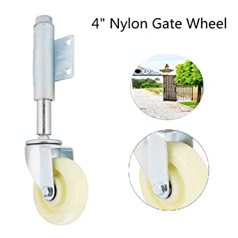4 Nylon Gate Wheel Spring Loaded Swivel Caster Light Weight Gate Castor Heavy Duty 440lbs Load Capacity