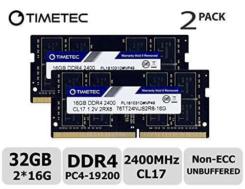 Timetec Hynix IC 32GB KIT (2x16GB) DDR4 2400MHz PC4-19200 Non ECC Unbuffered 1.2V CL17 2Rx8 Dual Rank 260 Pin SODIMM Laptop Notebook Computer Memory Ram Module Upgrade (32GB KIT (2x16GB)) ()