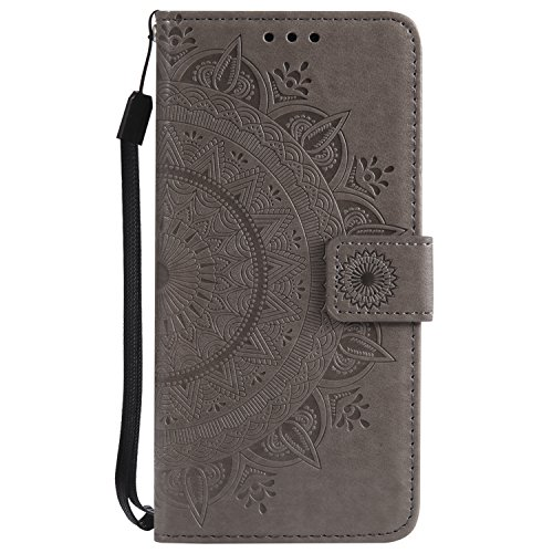 IKASEFU Emboss Floral Totem Pu Leather Wallet Strap Case Card Slots Shockproof Magnetic Kickstand Folio Flip Book Cover Protective Case Compatible with iphone 5S/SE,gray (Best Protective Cover For Iphone 5s)