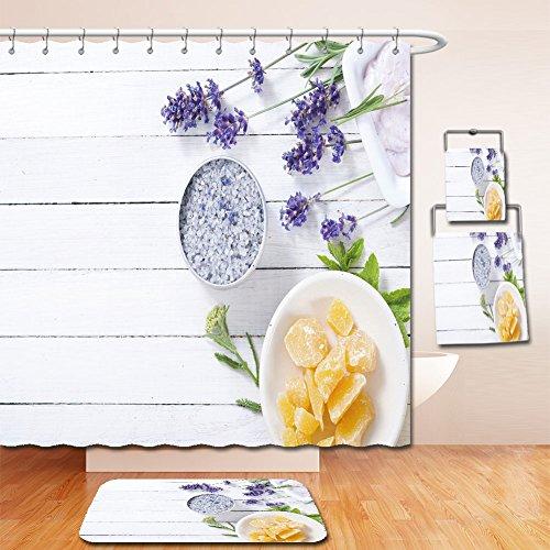 Beshowereb Bath Suit: Showercurtain Bathrug Bathtowel Handtowel cosmetic creams lip balm soap and bath salt with herbal flowers on white wooden table (Personalized Cherry Blossom Lip Balm)
