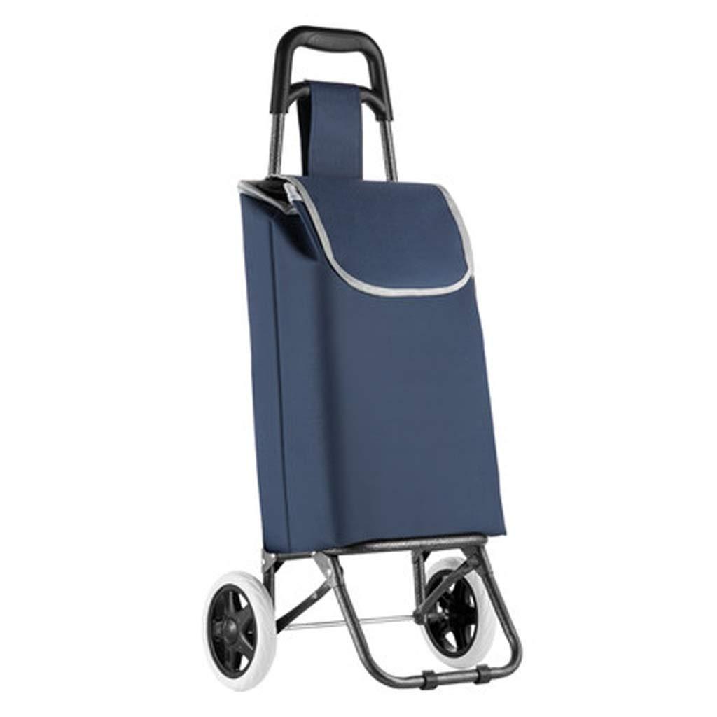 Lxrzls Shopping Cart, Small Cart Home Folding Cart Trolley Car Trolley Portable Shopping Cart (Color : Blue)