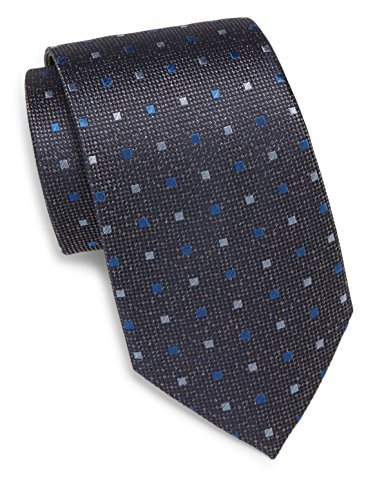 Yves Saint Laurent Men's Square Pattern Silk Tie, OS, Charcoal Grey & Blue by Yves Saint Laurent