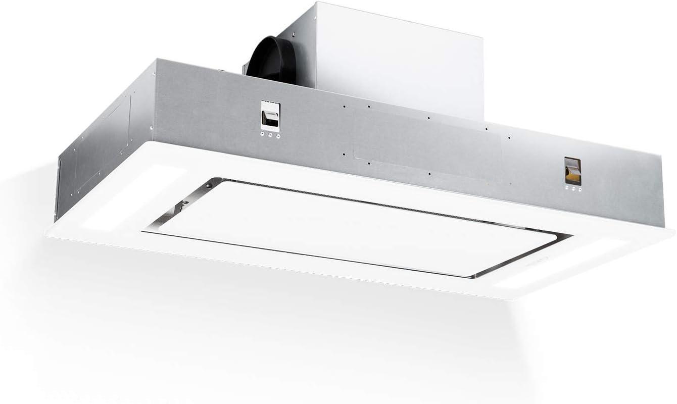 Klarstein Remy - Extractor de humos, Extractor bajo mueble, Extractor cubierto, 90 cm, Touch, Iluminación LED, 620 m³/h, Mando a distancia, Blanco
