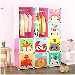 Tespo Portable Clothes Closet Wardrobe for Children and Kids, Cute Cartoon, DIY Modular Storage Organizer, Sturdy and Safe Construction, 12 Deeper Cubes with Hanging Rods, Pink