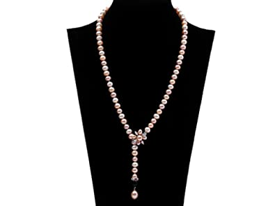 JYX Double-strand 7-7.5mm White Flatly Round Freshwater Pearl Necklace GQmTI