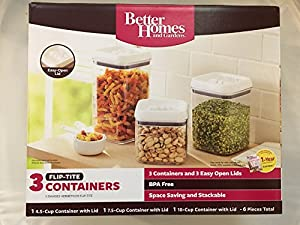 Better homes and gardens 3 container flip tite containers white kitchen dining - Better homes and gardens containers ...