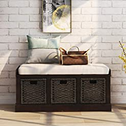 Entryway Merax Storage Bench Entryway Storage Bench with 3 Removable Basket, Shoe Bench Fully Assemble Storage Bench with…