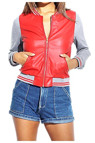G2 Chic Women's Colorblock Faux Leather Sporty Bomber Jacket(OW-JKT,REDA3-S)