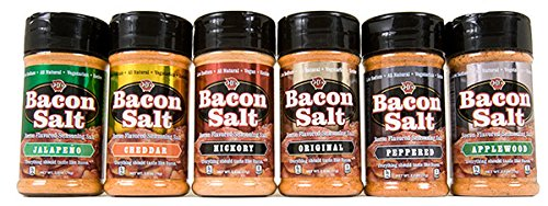 Bacon Salt 6 Pack - Original, Applewood, Hickory, Jalapeño, Cheddar & Peppered Bacon Flavored Seasoning Salts Set by J&D's Foods