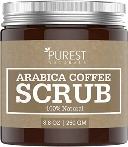 Purest Naturals Arabica Coffee Body Scrub - Best Remedy for Spider Varicose Veins, Cellulite, Stretch Marks, Eczema & Acne - Reduce Puffiness & Anti-Swelling Naturally