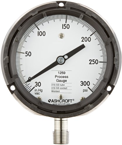 Ashcroft Type 1259 Fiberglass Reinforced Thermoplastic Solid Front Safety Case Dry Filled Process Pressure Gauge, Stainless Steel Tube and Socket, 4.5' Dial Size, 1/2' NPT Lower Connection, 30' Hg Vac /0/300 psi Pressure Range