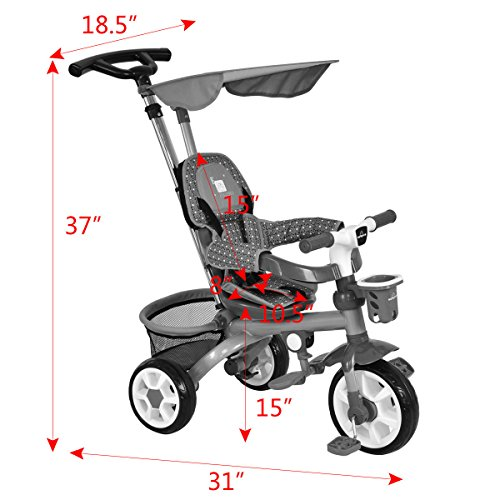 4-In-1 Kids Baby Stroller Tricycle Detachable Learning Toy Bike Canopy Basket by Eight24hours (Image #1)