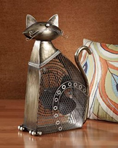 DecoBREEZE Table Fan Two-Speed Electric Circulating Fan, Large Cat Figurine Fan