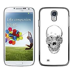 GOODTHINGS ( NO PARA S4 Mini ) Funda Imagen Diseño Carcasa Tapa Trasera Negro Cover Skin Case para Samsung Galaxy S4 I9500 - blanco cráneo muerte negro del tatuaje del metal
