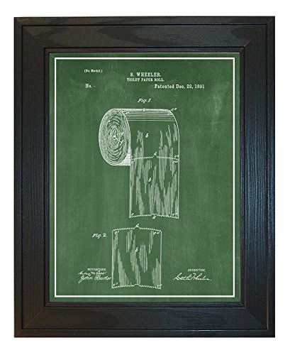 Toilet Paper Roll Patent Art Green Chalkboard Print with a Border in a Solid Pine Wood Frame (8.5