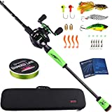Sougayilang Ultralight Fishing Rod Reel Combos Portable Light Weight High Carbon 4 Pc Travel Fishing Pole Fishing Reel -2.1M/6.89FT Casting Rod with Left Handed Reel with Case