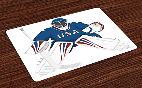 Goalie Trapper - NewThangKa Doormat Welcome Entrance Mat Non-Slip Rubber Backing Runner Rugs for Kitchen/Living Room/Bedroom/Laundry/Bathroom, USA Hockey Goalie Image 20x31in