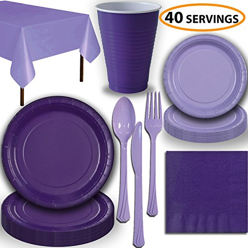 Disposable Party Supplies, Serves 40 - Purple and Lavender - Large and Small Paper Plates, 12 oz Plastic Cups, Heavyweight Cutlery, Napkins, and Tablecloths. Full Two-Tone Tableware Set]()