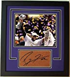 Ray Lewis Signed - Autographed Football Textured Cut with BLACK CUSTOM FRAME and Baltimore Ravens Super Bowl 47 XLVII 8x10 inch Photo - Guaranteed to pass PSA or JSA
