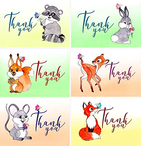 Set of 36 Assorted Hand Drawn Woodland Animal Thank You Greeting Cards with Envelopes For Baby Boy, Baby Girl, Toddler and Child Birthday Party, Baby Shower, Baptism, Christening And Kids Themed Party