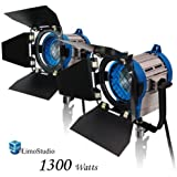 LimoStudio 1300 Watt Photography Photo Video Studio, Film and Television Tungsten Fresnel Continuous Lighting Light Spotlight, 650 Watt x2, AGG1027