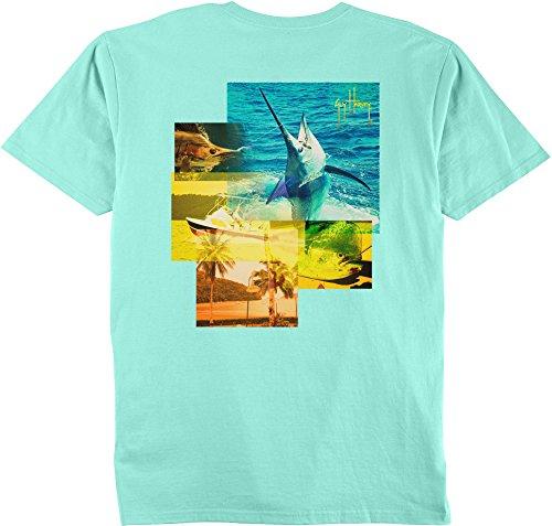 Guy Harvey Mens Tropical Star T-Shirt Large Mint (Guy Harvey Star)