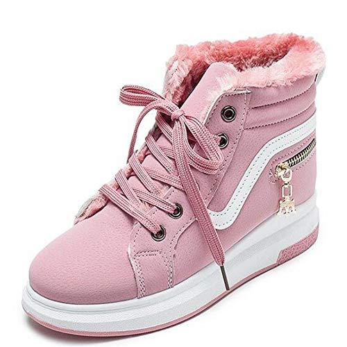 Tobillo Cordones Pingxiannv Zapatillas Cortas Deporte Pisos De Invierno Rosado Mujer Botas Nieve Cálidos Zapatos qqHtxa