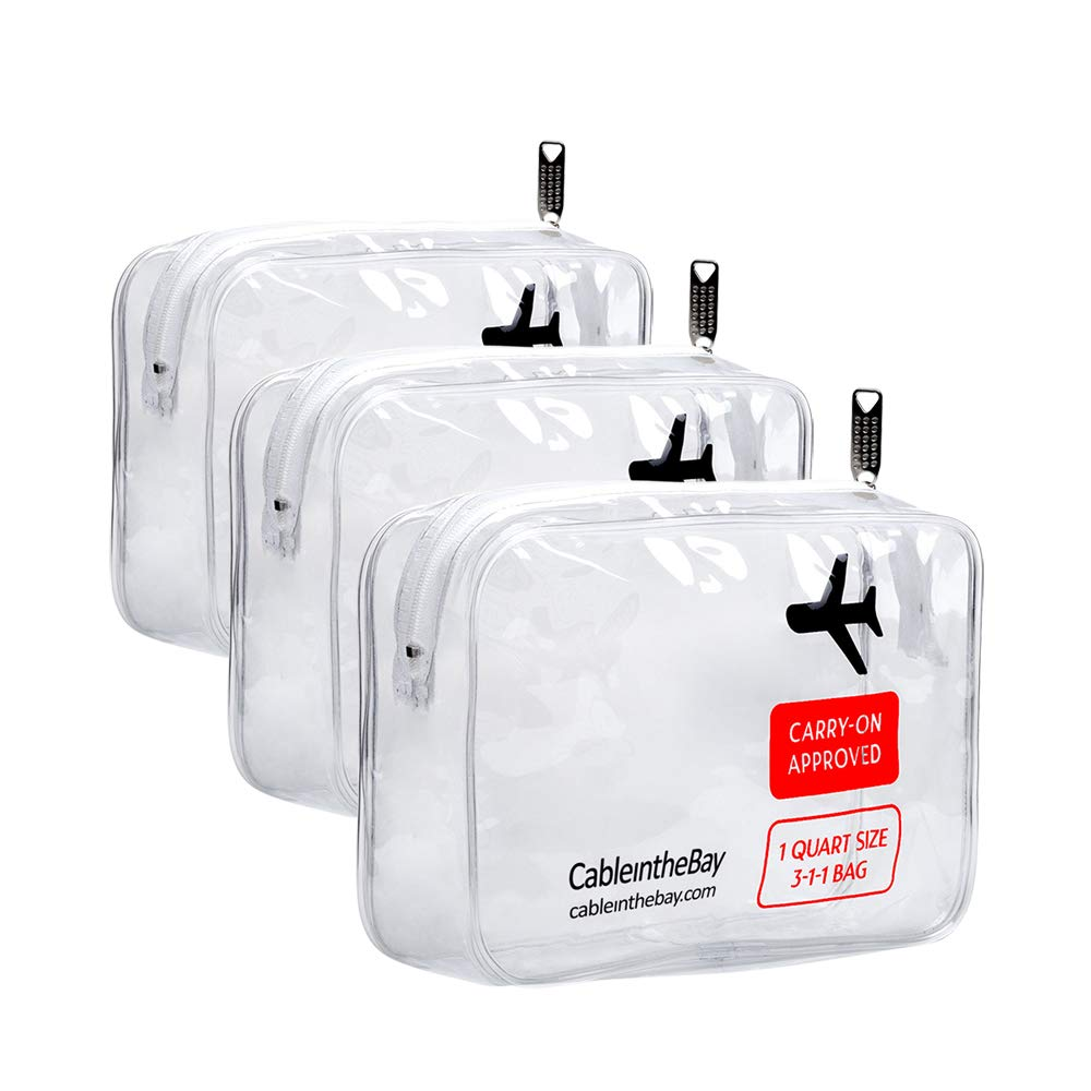 TSA Approved Clear Travel Toiletry Bag(3PACK)|Quart Sized with Zipper|Airport Airline Compliant Bag|Carry-On Luggage Travel Backpack for Liquids/ Bottles|Men's/Women's 3-1-1 Kit+Travel EBOOK