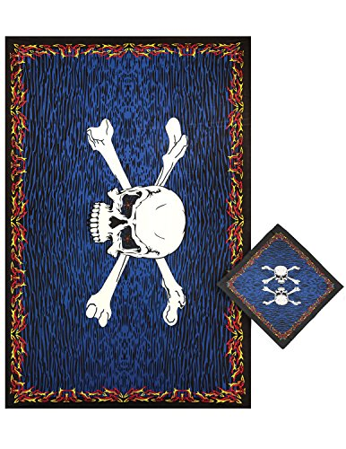 Sunshine Joy 3D Fire Bones Pirate Skull Tapestry Tablecloth Beach Sheet Wall Art Huge 60x90 Inches with FREE BANDANA (Table Stake 22)