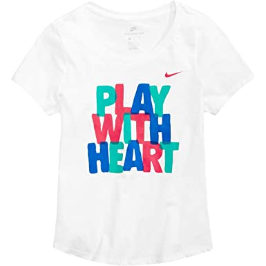 new products 31f04 77c48 Nike Girls Play with Heart Cotton Graphic T-Shirt White L