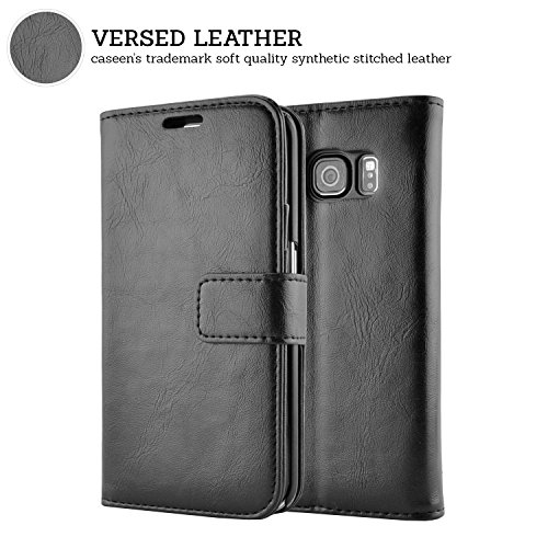 S6 Edge Case, S6 Edge Wallet Case, caseen® Ottimo Leather Slim Folio (Black) w/ Credit Card Pockets Kick Stand Flip Cover for Samsung Galaxy S6 Edge