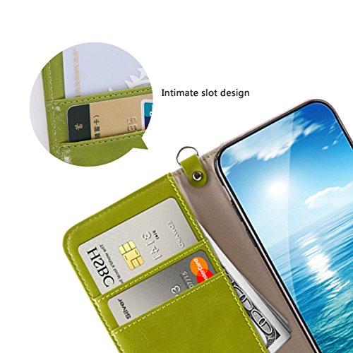 Funda iPhone X, MONOJOY Funda Piel Resistente, [Harris Tweed], Soporte Plegable, Ranuras para Tarjetas y Billetes, Estilo Libro, Cierre Magnético (Verde) Verde