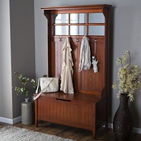 Cherry Entryway Hall Tree with Mirror Coat Hooks and Storage Bench - Mirror Coat Hooks