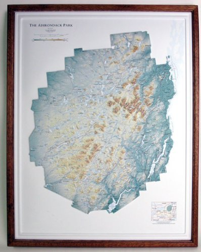 ADIRONDACK STATE PARK (a New York State Park) Raised Relief Map with Oak Wood Frame by American Educational Products