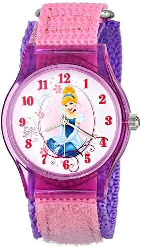Disney Kids' W001271 Cinderella Plastic Watch with Pink Nylon Strap
