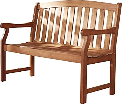 Stupendous Amazon Com Wood Garden Bench Contoured Seat Contoured Back Machost Co Dining Chair Design Ideas Machostcouk