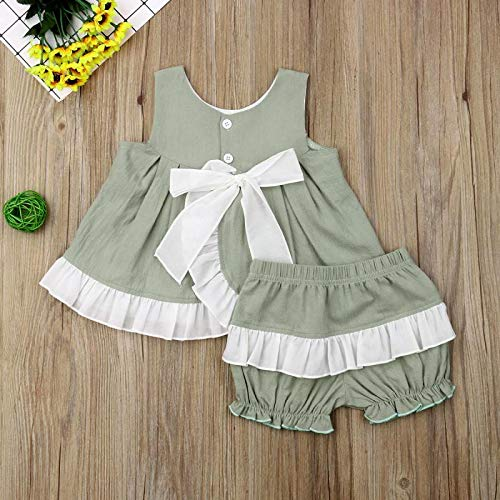 Ruffle Shorts Casual Clothes Set 2Pcs Toddler Kids Girl Outfits Sleeveless 0-3T Infant Baby Girls Summer Clothes Bowknot Dress