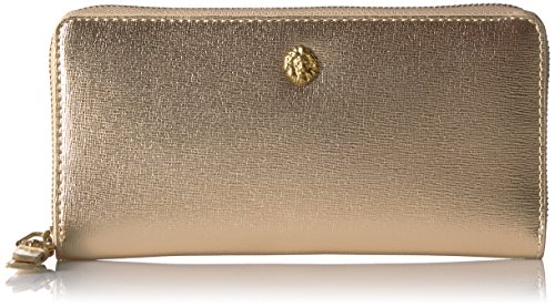 Anne Klein Women's Slim Zip Around Wallet, Metallic/Gold/Lead, One Size