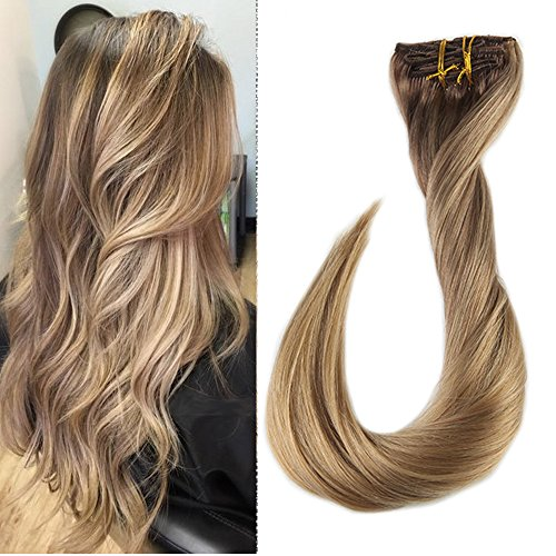 Full Shine 14 inch 120gram Balayage Remy Ombre Clip In Extensions Color #10 Brown Fading to #16 With Color #16 Highlighted Through The Thick Hair Extensions Clip In