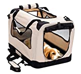 Cheap 2PET Foldable Dog Crate – Soft, Easy to Fold & Carry Dog Crate for Indoor & Outdoor Use – Comfy Dog Home & Dog Travel Crate – Strong Steel Frame, Washable Fabric Cover, Frontal Zipper Large Beige