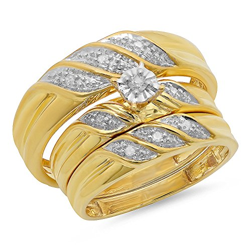 0.15 Carat (ctw) Yellow Gold Plated Sterling Silver Round Diamond Bridal Ring Trio -