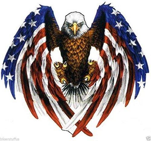 Eagle with American Flag Sticker helmmet Sticker bummpper Sticker Small ()