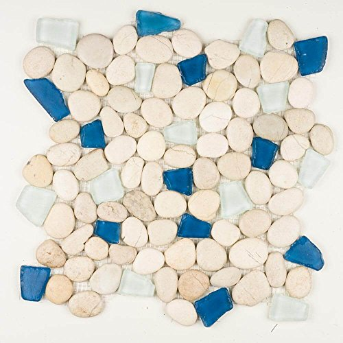 Stone pebble mosaic. Sea Glass (Aqua Marine)