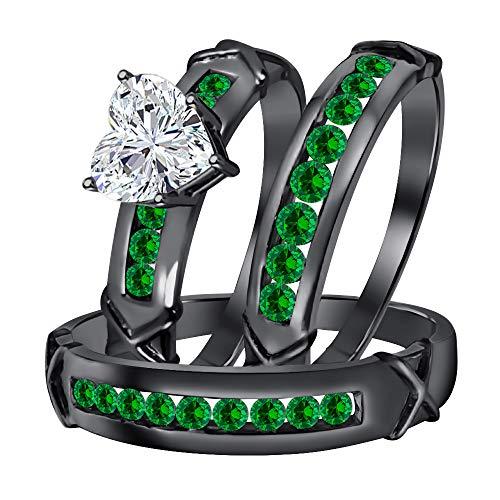(Dabangjewels Engagement & Wedding Ring Trio Bridal Set 3.00Ctw Heart Shaped White CZ Diamond & Green Emerald 14k Black Gold Over .925 Sterling Silver for Women's & Men's)