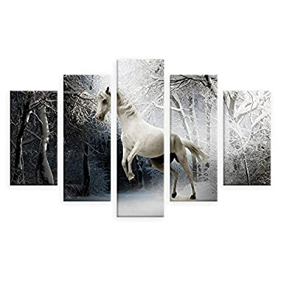 Alonline Art - Wild White Horse Split 5 Panels FRAMED Cotton Canvas For Home Decor READY TO HANG Wall Art Museum Quality Frame Frames