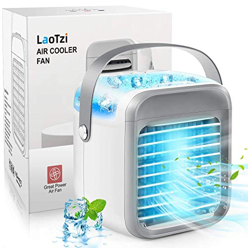 LaoTzi Portable Air Conditioner, Rechargeable Evaporative Air Conditioner Fan with 3 Speeds 7 Colors, Cordless Personal…