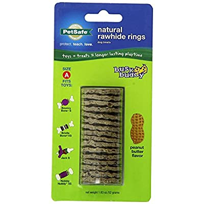 PetSafe Busy Buddy Refill Ring Dog Treats for select Busy Buddy Dog Toys, Peanut Butter Flavored Natural Rawhide, Size A by PetSafe