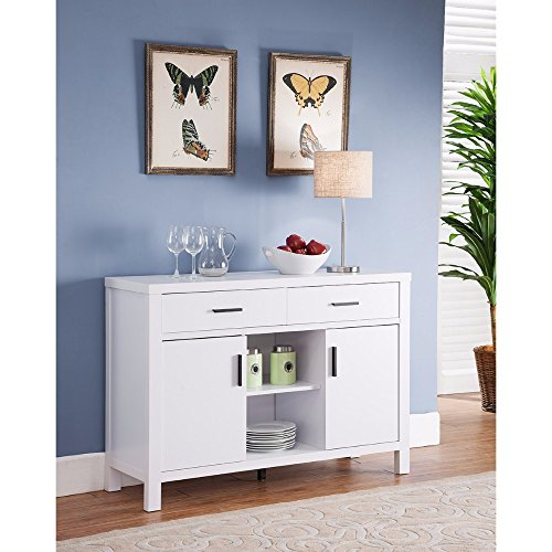 Benzara Simplistic Contemporary Utility Buffet, White Storage Chest