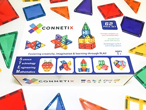 Connetix Magnetic Tiles 62 Piece Set | The Best STEM Approved Educational Toy for Kids of All Ages | Stronger Magnets so You can Build Bigger | Encourage Learning and Development Through Play ()