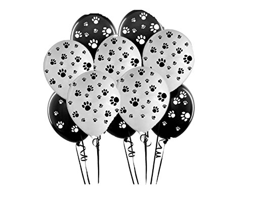 PAW PRINT PARTY BALLOONS (BLACK & WHITE)